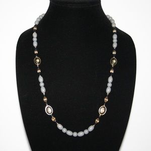 Beautiful gray gold and black cloisonne necklace